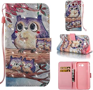 Case for Galaxy J3 2017/J3 Prime/J3 Emerge/J327,3D Printing Inner Soft TPU Bumper Pu-Leather Wallet Case with Card Holder & Magnetic Closure Wrist Strap Compatible with Samsung Galaxy J3 2017 -Birds