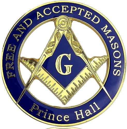 Prince Hall Free Accepted Masons Blue & Gold Masonic Auto Car Emblem