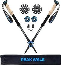 PEAK WALK Trekking Poles, Ultra-Light 7.5 oz, 3K Carbon Fiber Hiking Poles, Collapsible Walking Sticks with Metal Flip-Lock and EVA Foam Grips - 1 Pair Black