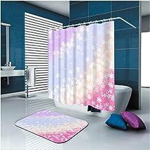 AMDXD Bathroom Set Curtain Mats Accessories Flower Pink Shower Curtain 3D Bathroom Mats for Home 90x180CM