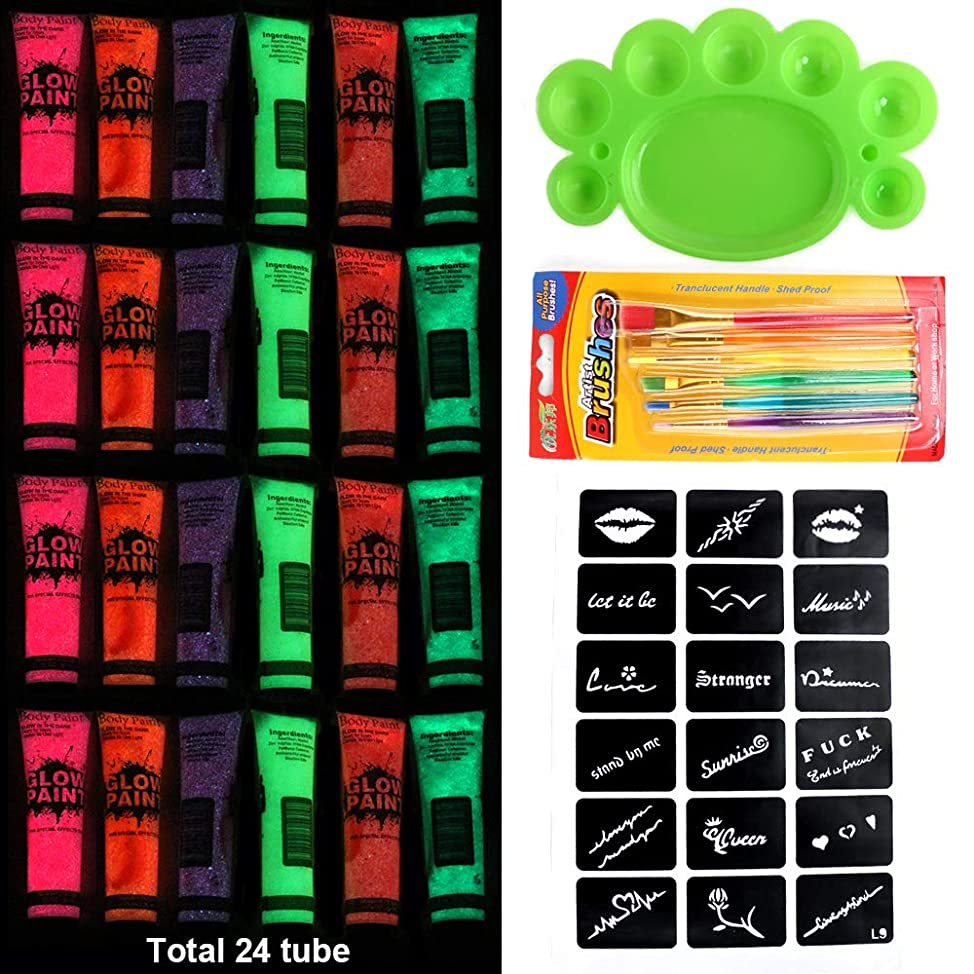 24 Bottles 6 color UV Body Paint Neon body Paint Neon Face Paint Blacklight Reactive Fluorescent Paint fvcixyfb683