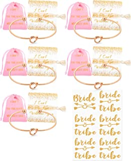 Bridesmaid Gifts Love Knot Bracelets with Bride Tribe Metallic Tattoos and Hair Tie Bride Tribe Bridesmaid Gifts Cards Set 1 4 5 6 7 10