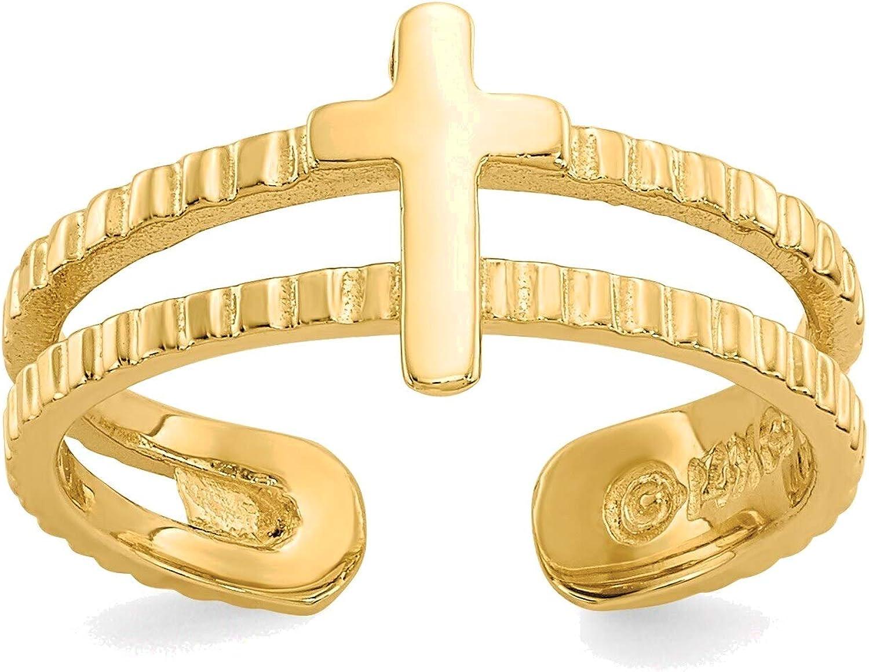 Bonyak Jewelry Cross Toe Ring in 14K Yellow Gold in Size 11