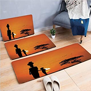 3 Piece Non-Slip Doormat 3d print for Door mat living room kitchen absorbent kitchen mat,Sunset Walking in Savannah Desert Dawn Kenya,15.7