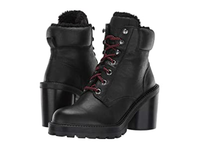 Marc Jacobs Crosby Hiking Boot with Faux Shearling Lining (Black) Women
