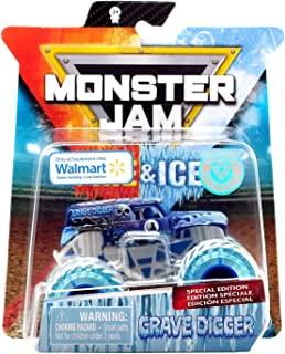 Monster Jam 2019 Fire and Ice Exclusive Special Edition Grave Digger Ice 1:64 Scale Diecast Monster Truck by Spin Master