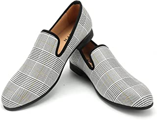 XQWFH Men's Plaid Smoking Slipper Dress Shoes Lattice Houndstooth Vintage Noble Slip-on Loafer Shoes for Wedding and Party