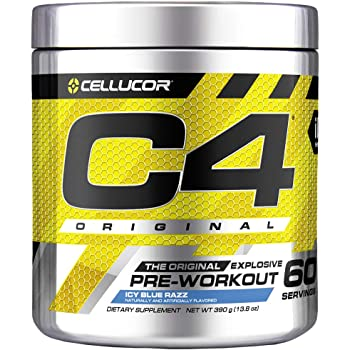 C4 Original Pre Workout Powder ICY Blue Razz | Vitamin C for Immune Support | Sugar Free Preworkout Energy for Men & Women | 150mg Caffeine + Beta Alanine + Creatine | 60 Servings