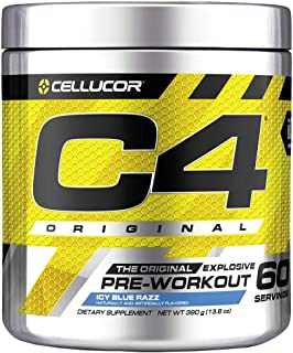 C4 Original Pre Workout Powder ICY Blue Razz�| Vitamin C for Immune Support | Sugar Free Preworkout Energy for Men & Women | 150mg Caffeine + Beta Alanine + Creatine | 60 Servings