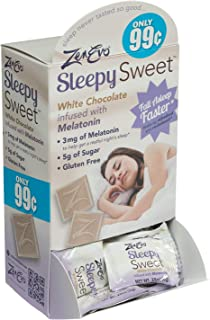 ZenEvo Sleepy Sweets White Chocolate Melatonin Sleep Aid - Safe, Effective Solution for Peaceful Sleep/All-Natural/Gluten-Free - 50 Ct