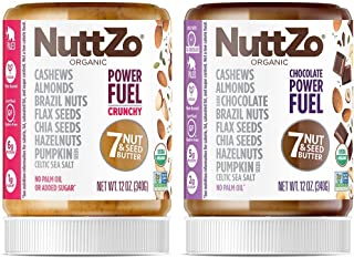 NuttZo Power Fuel Crunchy + Chocolate Power Fuel Nut Butter Bundle, Organic, Seven Nuts & Seeds, Paleo, 2 - 12 Ounce jars