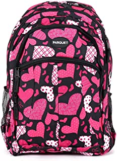 School Backpack for Kids, Heavy Duty Bag with Adjustable Padded Straps, Large Main Compartment Comfortable, Cool Prints, Carry Books, Laptop,Travel, Outdoor (Pink Heart)