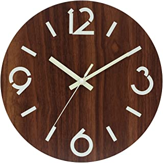 JoFomp Night Light Wooden Wall Clocks, 12 Inch Vintage Rustic Country Tuscan Style Battery Operated Silent & Non-Ticking Decorative Wall Clock for Kitchen Office Home (Style A)