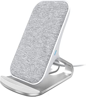 Lecone Fast Wireless Charger Fabric 10W / 7.5W / 5W Wireless Charging Stand Compatible with iPhone XR/Xs Max/Xs/X, Fast-Charging for Samsung Galaxy S10/S10+/S9/S9+ Note 9/Note 10 and More