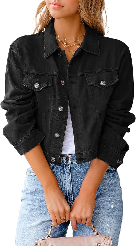 Women's Cropped Denim Jacket Coat Oversized Long Sleeve Button Down Jean Jacket Classic Distressed Denim Outerwear