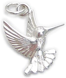 Sistakno Breloque ronde en argent sterling 925 pour bracelet Motif colibri
