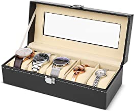 Flexzion Watch Box Organizer for Men and Women - Jewelry Watch Case Holder Display Storage Collector Luxury Set with Glass Top Display Viewing Window PU Leather Velvet Pillows Black (5 Slot)