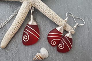 """Handmade in Hawaii,Top Wire Wrapped Ruby Red""""July Birthstone"""" sea glass Necklace+Earrings Set, (Hawaii Gift Wrapped, Customizable Gift Message)"""