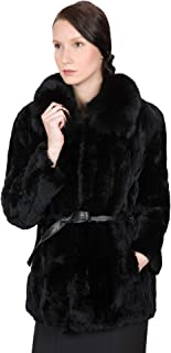 OBURLA Women`s Real Rex Rabbit Fur Coat   100% Fox Fur Collar and Genuine Leather Belt   Elegant Fur Jacket - Black