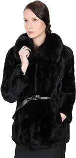 OBURLA Women's Real Rex Rabbit Fur Coat | 100% Fox Fur Collar and Genuine Leather Belt | Elegant Fur Jacket - Black