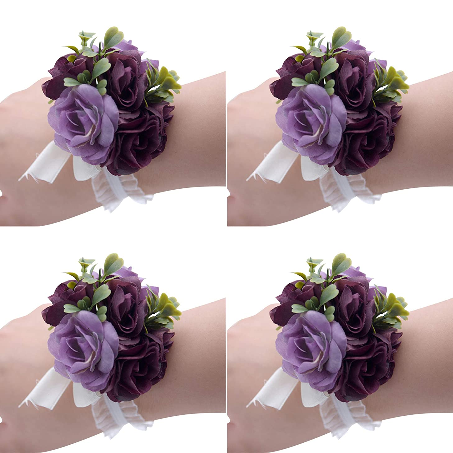 Florashop Fabric Small Roses Wedding Bridal Corsage Bridesmaid Wrist Flower Corsage Flowers Pearl Bead Wristband for Wedding Prom Party Homecoming 4 pcs-Violet Wrist Corsage