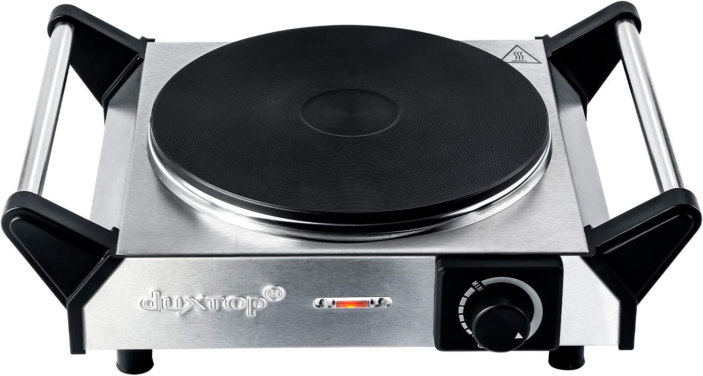 Duxtop Electric Hot Plate Portable Electric Stove, Cast Iron Single Burner, Stainless Steel Electric Burner, 1500W