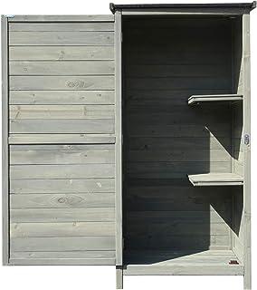 WilTec Maison d'été en Bois 69,5x52x142cm Vert avec Toit Plat & Porte Pliante