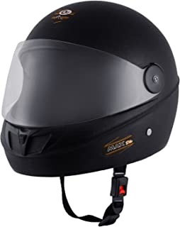 O2 Max DLX Full Face Helmet With Scratch Resistant Visor (Matte Black,M)