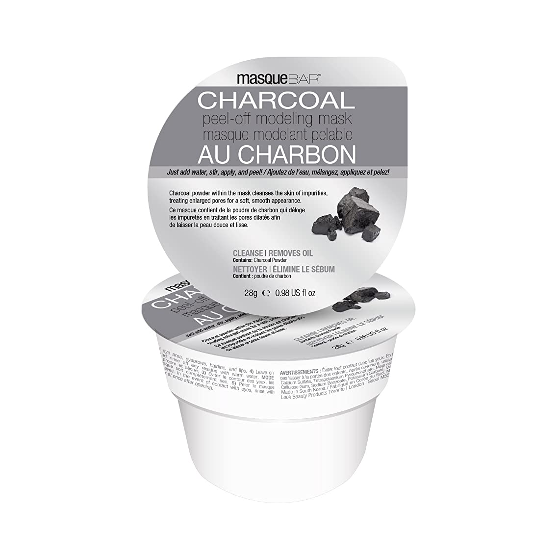 Masque Bar Charcoal Peel-Off Modeling Mask - For Acne, Blemishes, Oily Skin, Blackheads, Facial Pore Refiner - Made in Korea