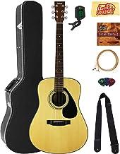 Yamaha F325D Dreadnought Acoustic Guitar Bundle with Hard Case, Tuner, Strings, Strap, Picks, Austin Bazaar Instructional ...