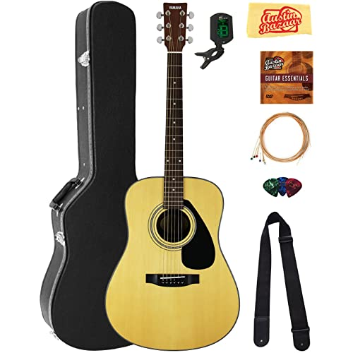 Yamaha F325D Dreadnought Acoustic Guitar Bundle with Hard Case, Tuner, Strings, Strap,