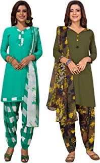 S Salwar Studio Women's Pack of 2 Synthetic Printed Unstitched Dress Material Combo-MONSOON-2860-2871
