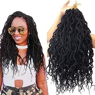 18inch 9 piece/lot Lightweight Kinky Curl Senegal Twist Goddess Crochet Hair Synthetic Hair Extension Wavy Senegalese Twist Hair Crochet Braids (#1B)