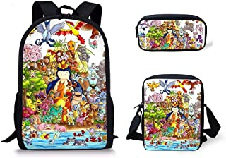 ZFFSC Télévision de qualité HD Pokemon Sac à Dos 3PCS / Sac à Dos for Enfants Cartoon Pokemon Anime Motif Sacs Sacs Set Ka...