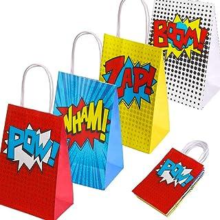 Superheld Party Supplies Favors, Superheld Party Taschen für Superhero Theme Geburtstag Partydekorationen Set von 16 (4 Farben)