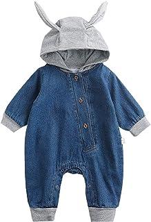 Bebé Mezclilla Mameluco Pelele con Capucha Niño Manga Larga Mono Traje de Jeans para Niñas