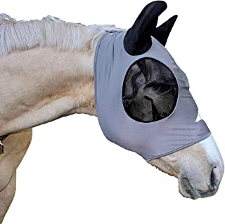 Shires Stretch Lycra Horse Fly Mask, Ventilated Mask Prevent Fly and Insect Bites   Charcoal, Full