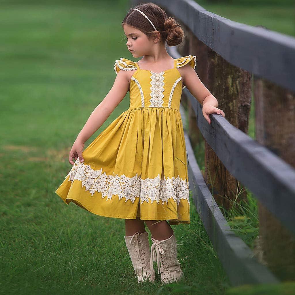 Toddler Kids Sundress Sleeveless Lace Patchwork Party Pageant Wedding Princess Dresses Memela