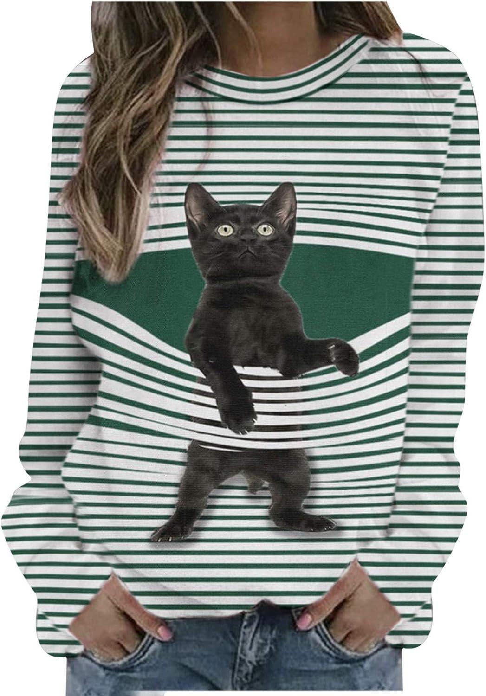Womens Crewneck Blouse Cartoon Cat Striped T-Shirt Sweatshirt Loose Soft Long Sleeve Pullover Tops Oversized