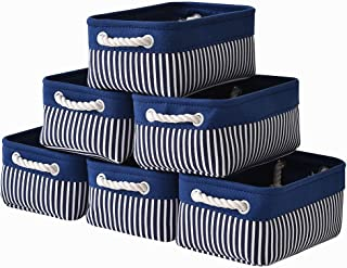 Canvas Storage Baskets[6-Pack] Small Fabric Storage Bins Toy Storage Baskets Empty Gift Baskets Shelf Baskets Decorative Storage Basket Set with Cotton Rope Handles for Home Office(Navy Blue Stripes)