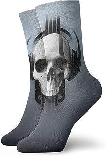 Calavera terrible con auriculares Calcetines cortos transpirables Calcetines clásicos de algodón de 30 cm para hombres Mujeres Yoga Senderismo Ciclismo
