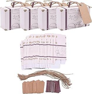 20 stycken mini resväska presentförpackning fest presentask godislåda vintage kraftpapper med etikett och linne bröllop/re...