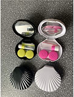 Pack of 2 Contact Lens Case Kit with Holder Tweezers Mirror Contact Box, Compact Portable Shell Contacts Lens Hard Case Travel Kit (White and Black)