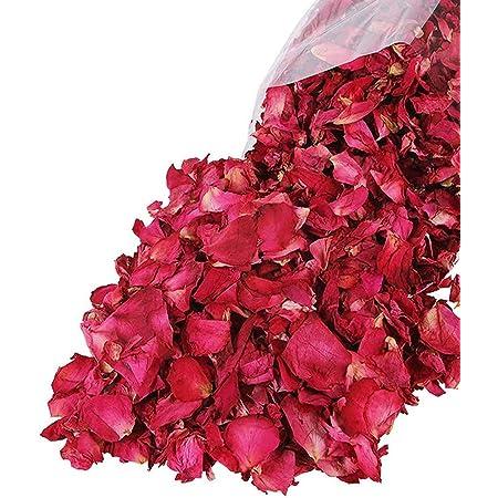 Lvcky 100G Naturale Petali di Rosa essiccati Fiori Veri Dry Rosso Rose Petalo per pediluvio Corpo Bagno Spa Wedding Confetti Petali Matrimonio Home Fragrance DIY Crafts Accessori