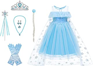 Snow Queen Costumes,Dress Girls Party Cosplay Girl Clothing Snow Queen Birthday Princess Dress Kids Costume Blue Costume W...