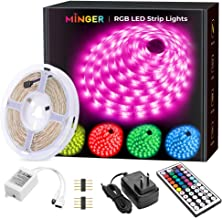 MINGER LED Strip Lights, 16.4ft RGB LED Light Strip 5050 LED Tape Lights, Color Changing LED Strip Lights with Remote for ...