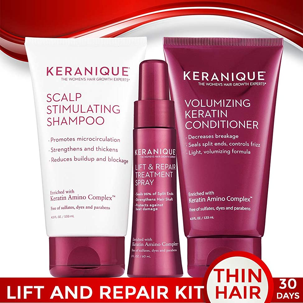 Keranique 30 Day Lift & Repair Kit | Shampoo, Conditioner, and Lift & Repair Treatment Spray | Keratin Amino Complex | Seals Split Ends | Free of Sulfates, Dyes and Parabens