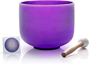 TOPFUND B Note Quartz Crystal Singing Bowl Crown Chakra Purple Color 8 inch O-ring and Rubber Mallet included