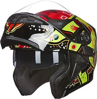 ILM Motorcycle Dual Visor Flip up Modular Full Face Helmet DOT 6 Colors (L, SUNFLOWER)