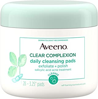 Aveeno Clear Complexion Daily Facial Cleansing Pads with Salicylic Acid Acne Treatment, 28 ct